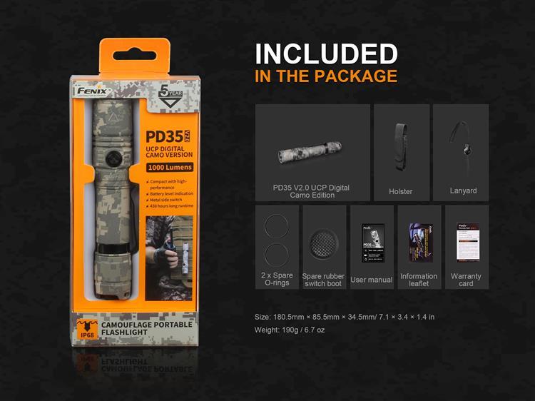 ไฟฉาย Fenix PD35 V2.0 UCP Digital Camo Edition
