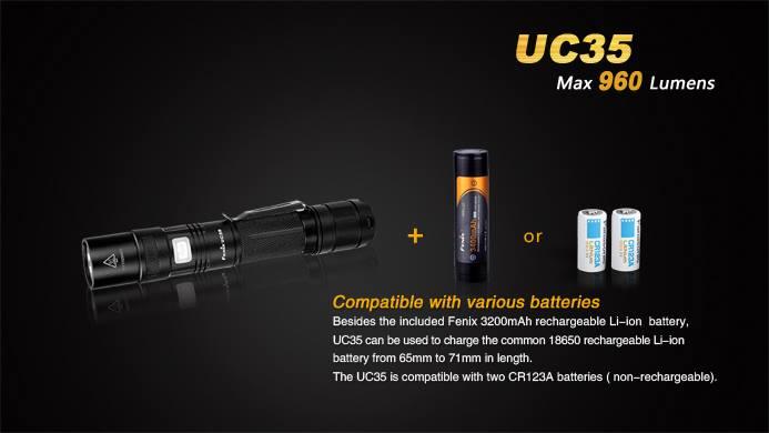 ไฟฉาย Fenix UC35 960LM ชาร์จในตัวแถมแบตเตอรี่ Fenix 18650