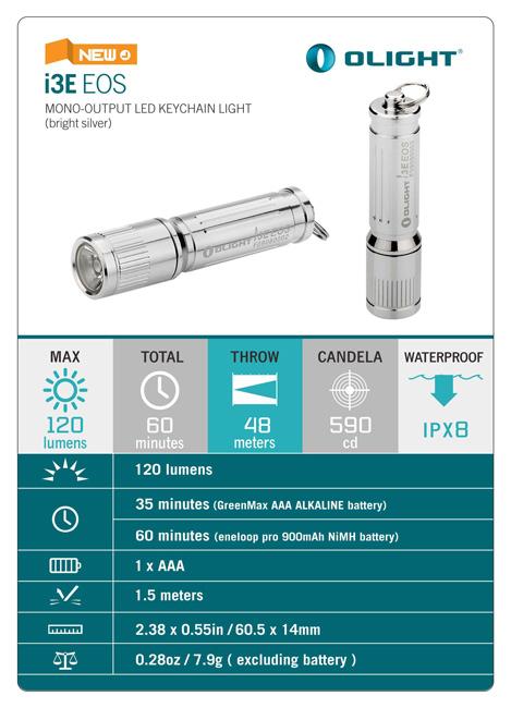 ไฟฉาย Olight i3E EOS (AAAx1) 90 Lumens